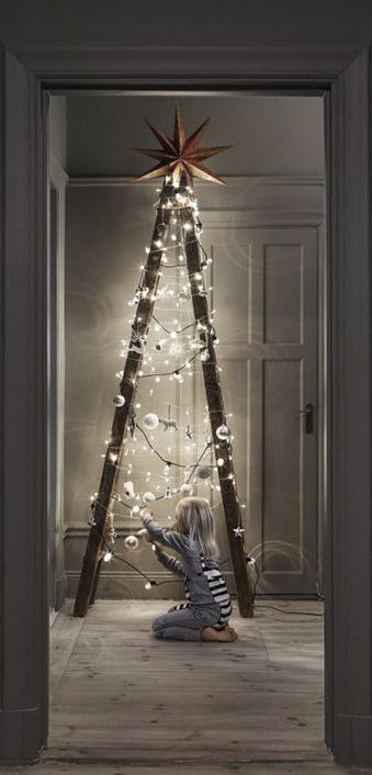 Ladder styled as christmas tree