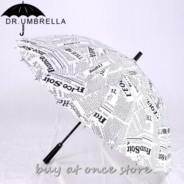 Top Quality 24 Rib Stick Newspaper Painting Windproof Long Straight Handle Large Outdoor Umbrella Sun/Rain Manual Parasol