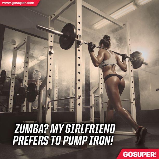 Zumba? My girlfriend prefers to pump iron! #gosuper #nutrition #supplements #sports #fitness #workout #gym #zumba