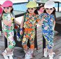 Aones Summer children rimmed fashion girl's sport flower clothing sets short-sleeve zipper outerwear+haren pants clothing sets