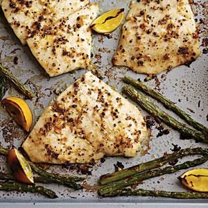 For this baked flounder recipe use fresh lemon, good olive oil, freshly ground peppercorns, and garlic, and you'll never look at lemon pepper the same again. Serve with steamed asparagus.