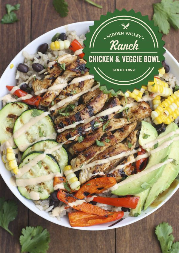 BBQ Ranch is the perfect ingredient for this Chicken 7 Veggie Bowl.   Full recipe: http://hiddnval.ly/ExgbmQ
