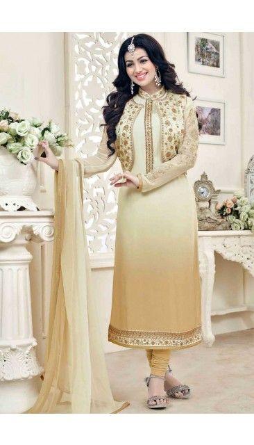 Ayesha Takia Cream And Beige Georgette Churidar Suit With Dupatta - DMV14824