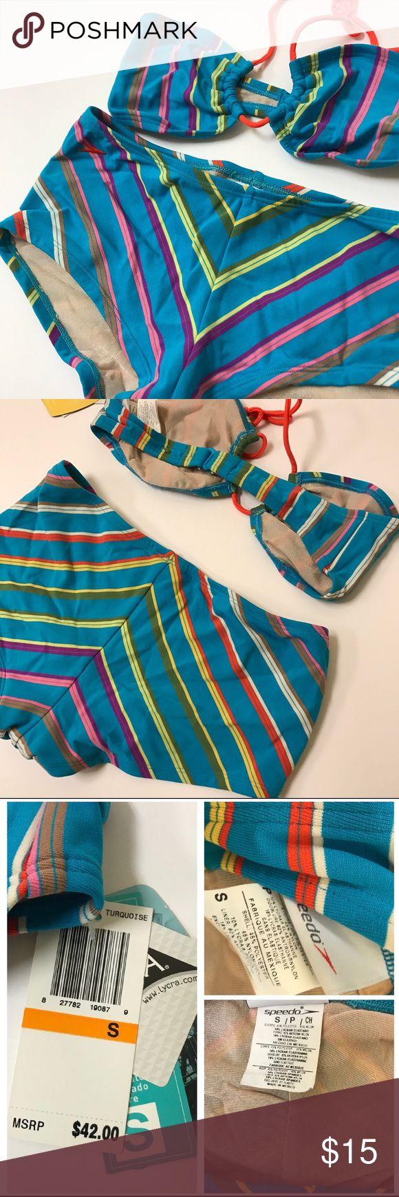 Sexy n' Sporty Striped Speedo Bikini Be bold. Be sexy. Be whatever you please in this striped bikini! TOP // fluorescent orange string top with peek-a-boo opening in the center. BOTTOM // wide waist band, cheeky cut. Speedo Swim Bikinis