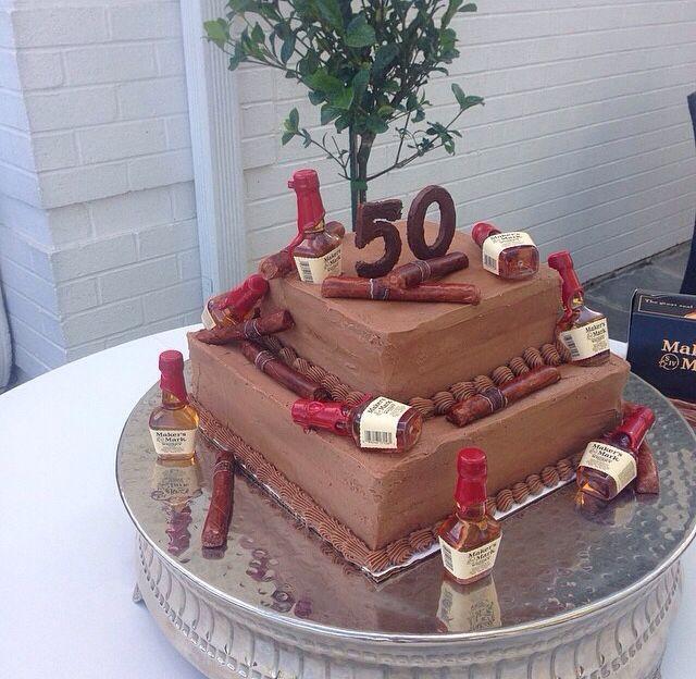 Mans 50th birthday, cake with fondant cigars
