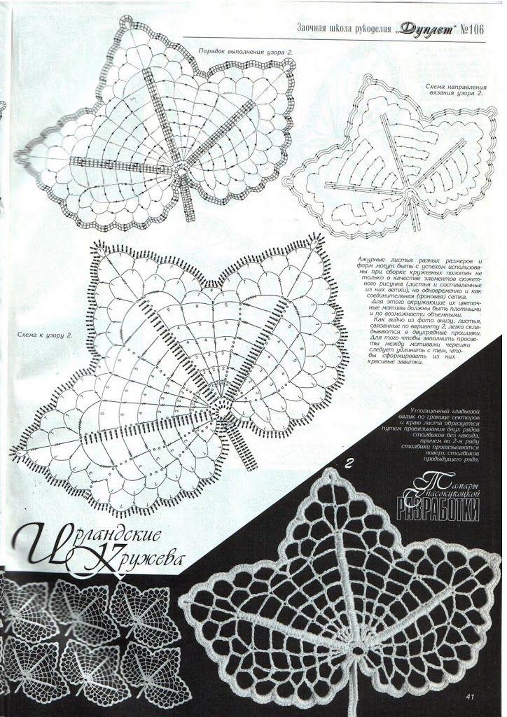 """Blatt häkeln ... mehr Motive auf meiner Pinnwand """" Häkeln Blätter """" Irish russian leaf crochet - interesting diagram showing 'detached' stage"""