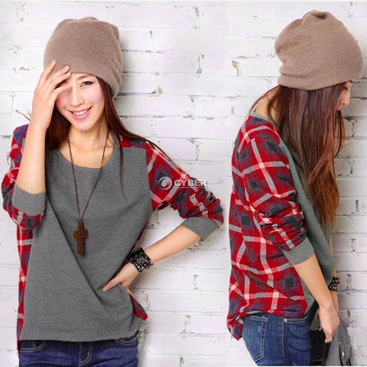 Zeagoo Women Plaid Checked Long Sleeve Casual Loose T Shirt Tops Blouse DZ88 | Clothing, Shoes & Accessories, Women's Clothing, Tops & Blouses | eBay!