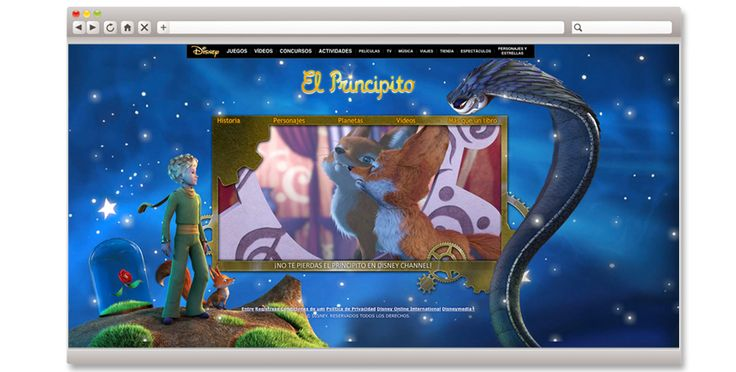 """Diseño online de la página web """"El Principito"""" incluyendo creatividad y contenidos interactivos. #elprincipito #web"""