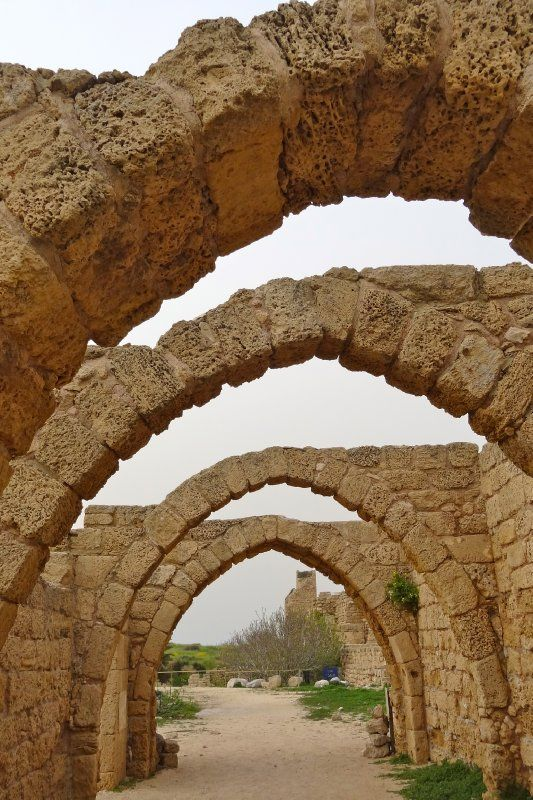 Arches at #Caesarea, #Israel. Built by the Roman Herod the Great, 25–13 BC as a port city. Was the center of Judaea Province (Roman Empire); capital of Byzantine Palaestina Prima province (classic period); populated arabs (after Arab conquest in 7th century) and so on... Today a populated town with beautiful preserved ruins of Roman architecture monuments. Worth a visit :)