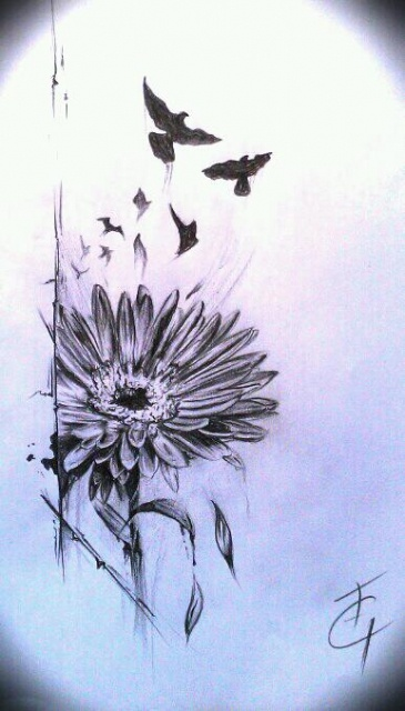 Flower and flock. Love it. #spread #your #wings #and #fly #away