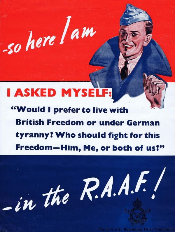 """AUSTRALIA WW II..Royal Australian Air Force - WWII recruitment poster £250.00 Original vintage World War Two recruitment poster for the Royal Australian Air Force. """"So here I am, I asked myself: Would I prefer to live with British freedom or under German tyranny? Who should fight for this freedom - him, me, or both of us? - in the RAAF!"""" Good condition, folds, minor tears.16"""