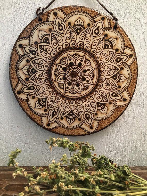 Woodburned Mandala Wood Burning Pinterest Pyrography