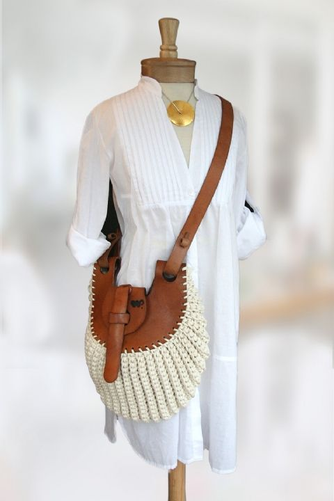Leather and crochet cotton cord bag, hand-made in Brazil. Measures 14x14