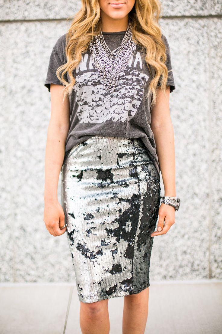 Sequin Skirt + Graphic Tee | sweetandsauer.com