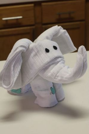 Turn Swaddling Blankets Into An Elephant