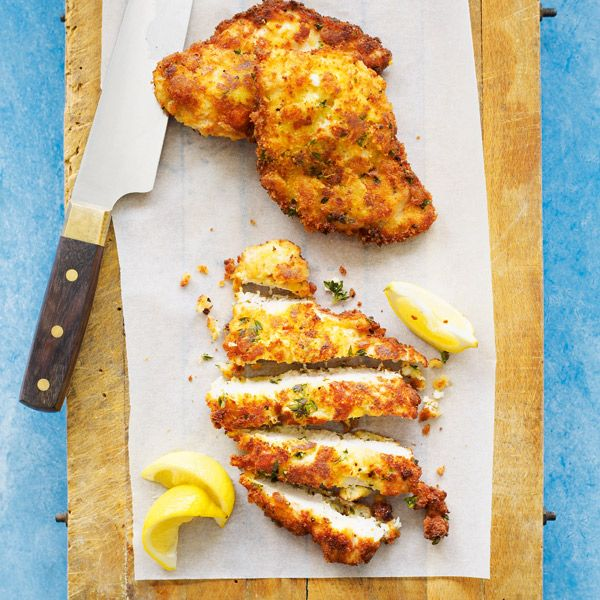 Home-made chicken schnitzels are a real treat midweek and you can feed four hungry mouths for less than a tenner.