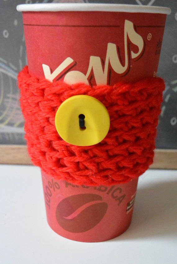 Red Cup Sleeve, Crochet Coffee Cup Sleeve, Mug Cozy With Button