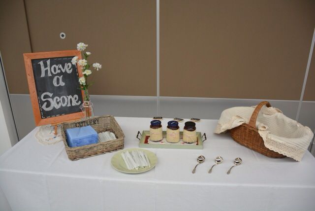 Our scone bar..just waiting on warm homemade scones and the cream!