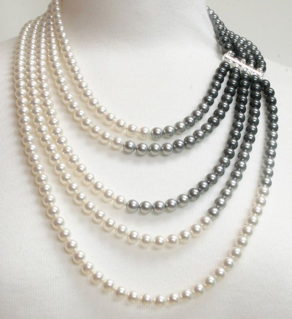 Pearl bib necklace pearl statement necklace.