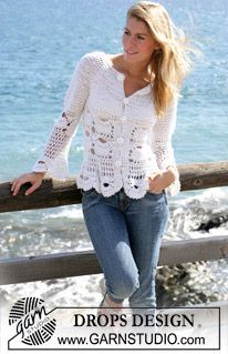 """DROPS crochet jacket with mussel pattern in """"Alpaca"""" and """"Cotton Viscose"""". Size S - XXL"""
