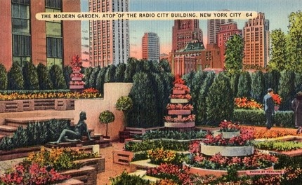 Modern Garden Radio City Building New York City Ny Vintage Postcard Vintage Postcards
