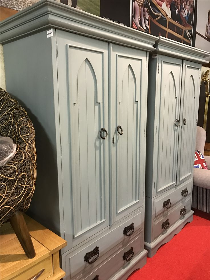 Shabby chic painted solid oak wardrobes with lovely arch feature on doors