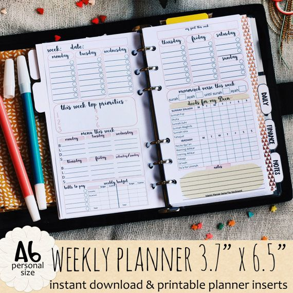 islamic weekly planner by kecilmamil personal size printable instant download