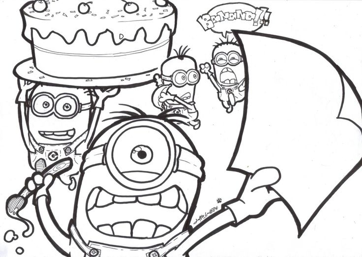 Minion Happy Birthday Coloring Pages
