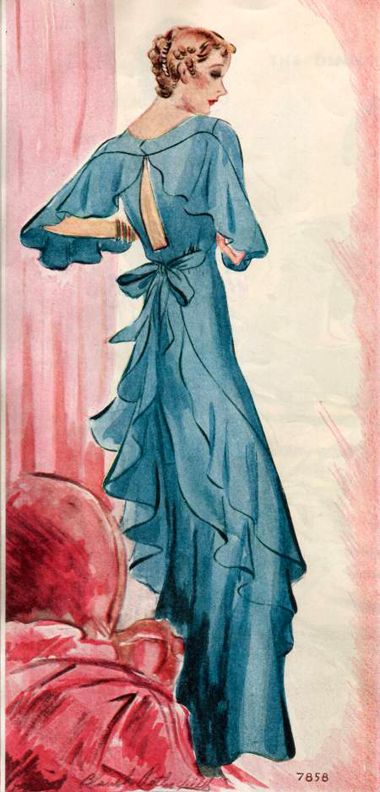 McCall 7858; ©1934; Ladies' & Misses' Evening Gown.   Bodice front and skirt are in one with seams being offset to the side back, each side is shaped with a dart from the natural waistline and tied at back with fabric sash.  A single flounce section is sewn to the back of the long sleeves from lower arm and runs across the top of keyhole back. The skirt back is cut in an upper and lower section.  Doubled sections of flounces are incorporated into diagonal seams from lower front to natural…