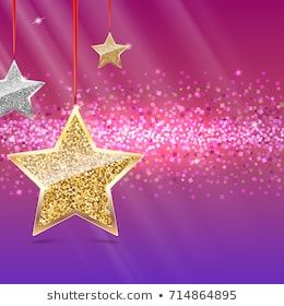 Glitter background with silver and gold hanging stars ...