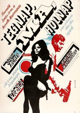 Sophia Loren, Marcello Mastroianni ok Máté András' poster from 1967.