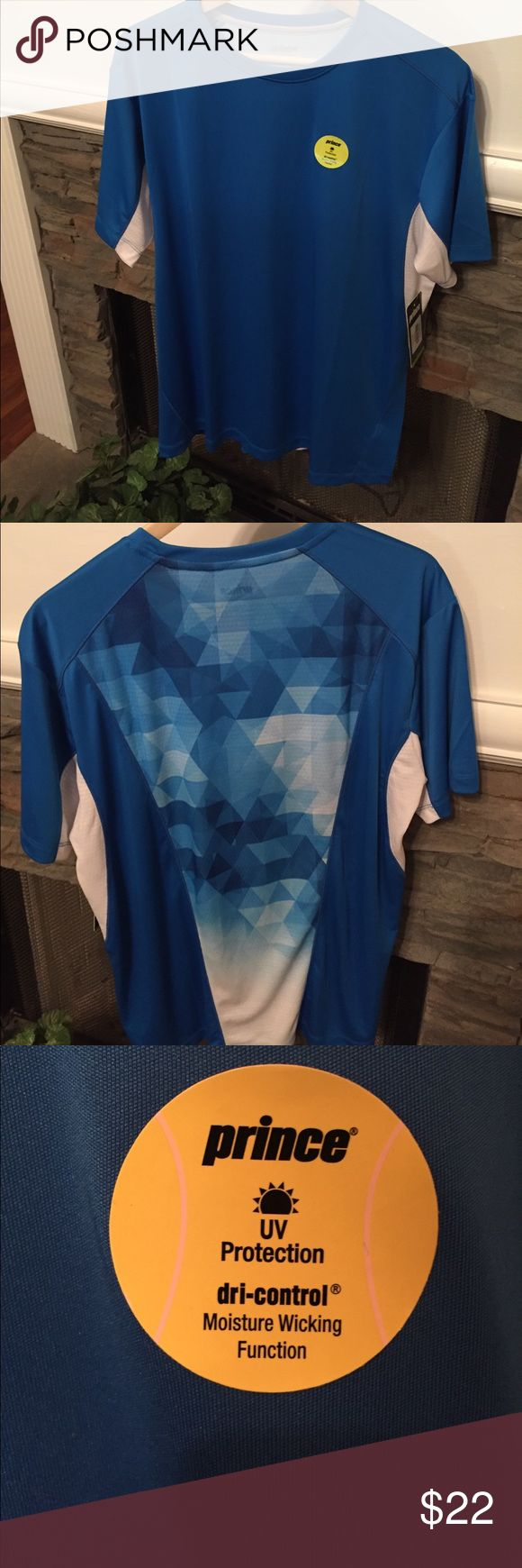 """Men's Prince Blue/White Sports shirt NWT Size L Men's Prince sports shirt. UV protection, dri-control moisture wicking function, size L, blue/white, short sleeves, 29 1/2"""" L Prince Shirts"""