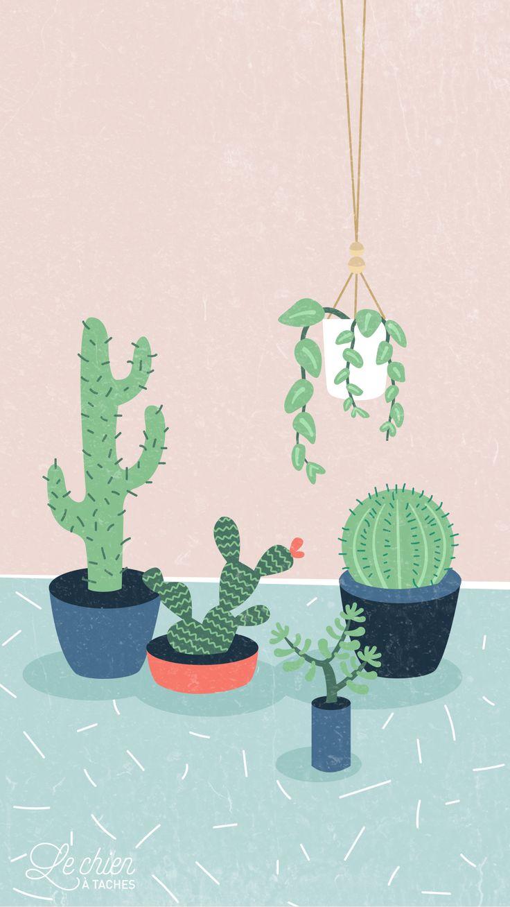 Cactus Girl Pastel iPhone Lock Wallpaper @PanPins