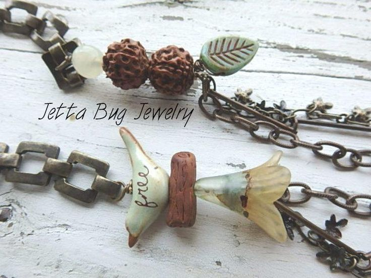 Constant Comment- ceramic bird. hand painted flower bead. sage green. polymer twig beads. rustic multi strand necklace. Jettabugjewelry by jettabugjewelry on Etsy https://www.etsy.com/listing/246985973/constant-comment-ceramic-bird-hand