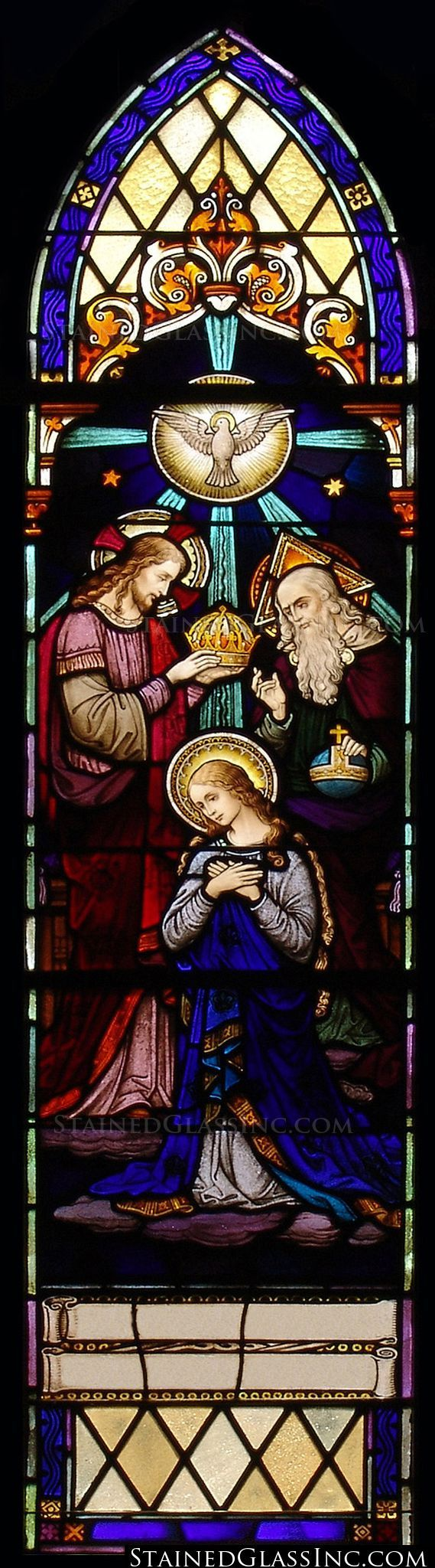 """The Crowning of the Virgin"" Religious Stained Glass Window August 22 is the Feast of the Queenship of Mary!!"
