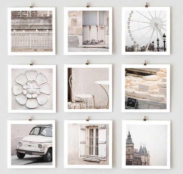 Glorious white!  Love the display.Photos Prints, Display Photos, Photos Things, Photos Ideas, Squares White Frames, Photos Collage, Photos Display, Hanging Photos, Pictures Frames