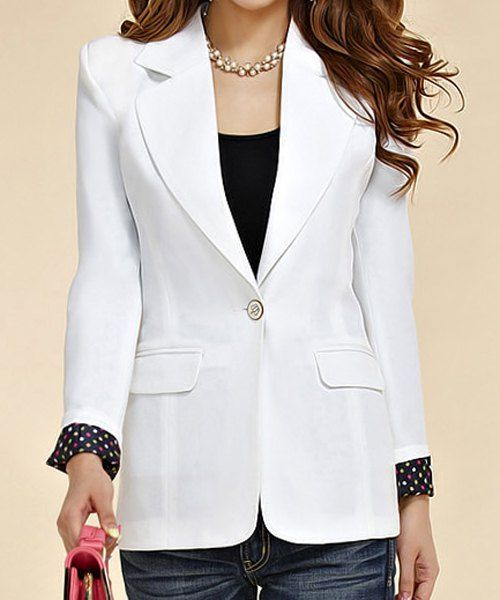 $11.86 Fashionable Style Lapel Neck Long Sleeve Slimming One Button Polka Dot Blazer For Women