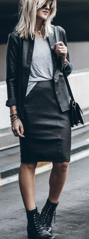 Wear + double leather + season + Jacqueline Mikuta + looks ultra cool + matching leather skirt + shirt + classic laced combat boots + cross body bag. Shirt/Skirt: Sally Blue, Boots: Esprit, Bag: Ganni. Cute Fall Outfits.
