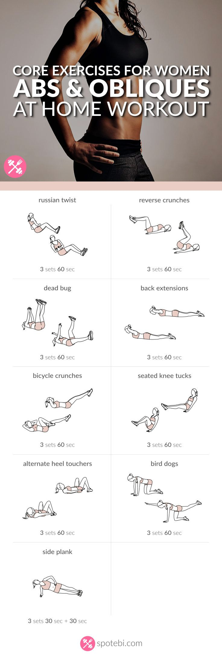 Work on your abs and obliques with these core exercises for women. A 30 minute waist cinching workout to activate your obliques and define your waistline! http://www.spotebi.com/workout-routines/core-exercises-for-women-abs-obliques-workout/