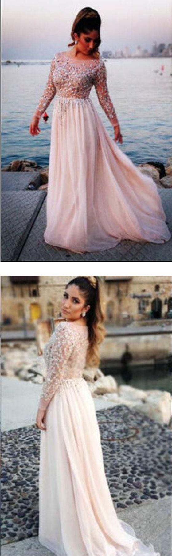 Long sleeve prom dresses, peach prom dresses, Long sleeve prom dresses, chiffon prom dresses, unique prom dresses #promdress #prom #longsleeve