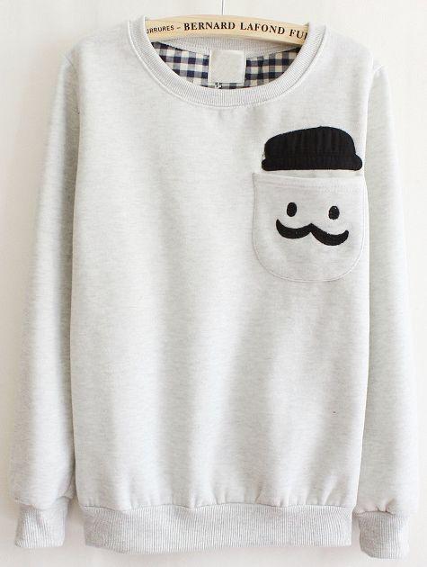 Shop Grey Long Sleeve Cartoon Pocket Sweatshirt online. Sheinside offers Grey Long Sleeve Cartoon Pocket Sweatshirt & more to fit your fashionable needs. Free Shipping Worldwide!: