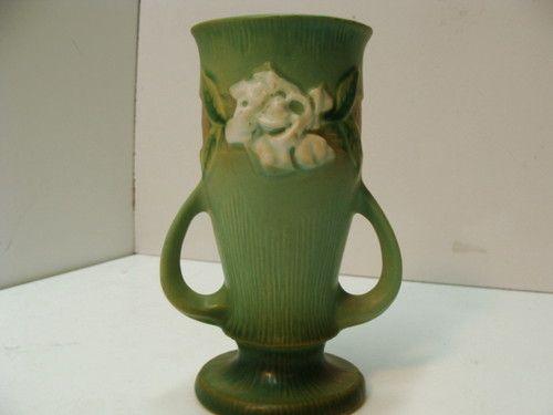 Roseville Gardenia Vase Shape 682 6 Quot Green Art Pottery Gardenias Art And Green