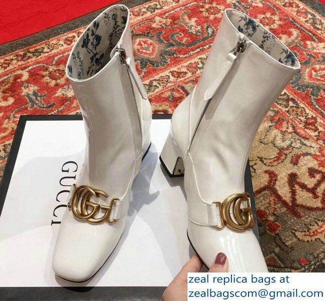 91e82b56c Gucci Patent Leather Ankle Boots White With Double G 524658 2018 ...