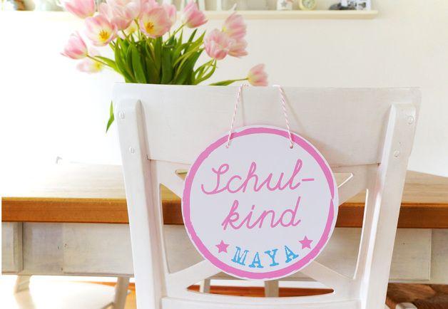 Schultüten - ★ Schulkind ★ Türschild mit Namen Einschulung rosa - ein Designerstück von Lena-und-Max bei DaWanda