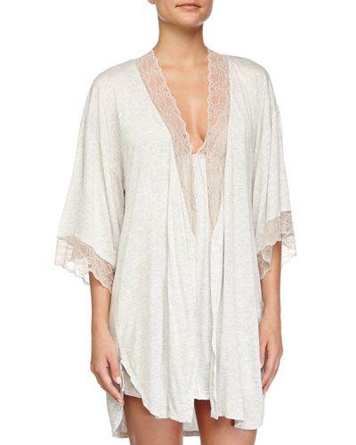 60f0 eberjey lacetrim short robe marblerose lacetrim t