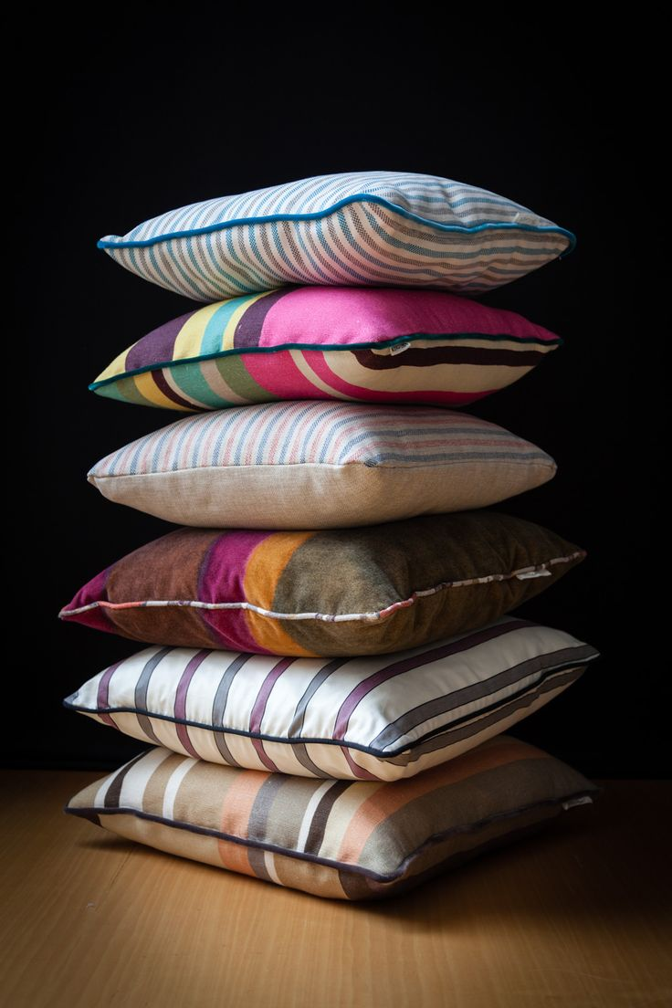 Fabulous multi-color #stripes in vibrant and energetic shades or in a palette of warm tones for BROCHIER #cushion collection.