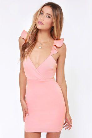 Everyday I'm Rufflin' Light Pink Bodycon Dress at LuLus.com! Very cute pink dress for an evening out <3