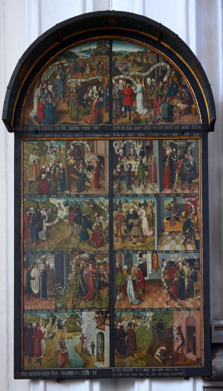 Tablice Dziesięciorga Przykazań, ok. 1480-1490, malarz dolnoniemiecki pracujący w Gdańsku, tempera na drewnie, 225 x 273 cm