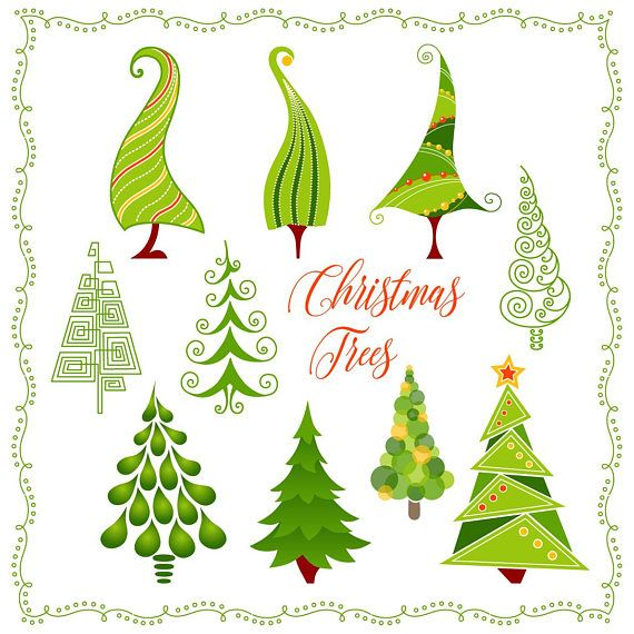 Cute Christmas Trees Clip Art Winter Decorations New Year Holiday Png Digital Card Clip Art Printable Vector Instant Download Vs005 Clip Art Christmas Tree Clipart Cute Christmas Tree