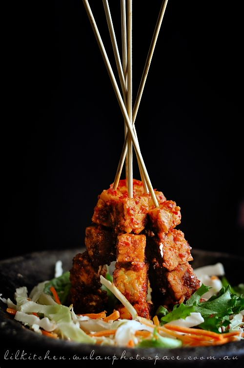 Sate Tempe Plappa Recipe (Spicy and Sweet Tempeh Saté)